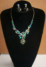 Hearts Necklace & Earring set Green & Blue