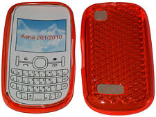 Pour Nokia Asha 201 / 2010 Motif Gel Housse Protecteur Pochette Orange NOUVEAU UK