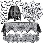 5pack Halloween Decorations Tablecloth Runner Black Lace Round Spider Cobweb 3D