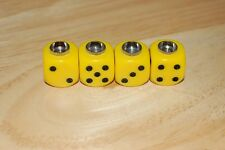 DUDDS DICE YELLOW OPAQUE w/BLACK DOTS VALVE STEM CAPS (4 PACK)