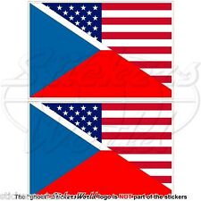 USA United States America-CZECH REPUBLIC & American Flag 75mm Stickers Decals x2
