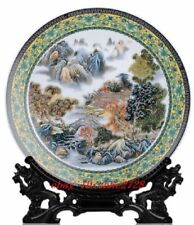 """16"""" Big famille rose porcelain plate painted Chinese nice landscape low price NR"""