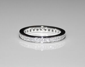 3MM STERLING SILVER PRINCESS CUT CZ CUBIC ZIRCONIA ETERNITY RING (SIZES H - V)