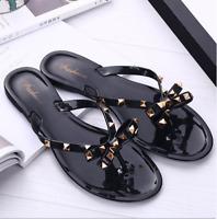 Women Summer Beach Studded Rivets Bow Flip Flops Flat Heel Slipper Sandals Shoes
