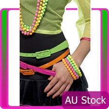 Ladies Beaded Bracelets Neon Assorted 1980s 80s Disco Party Costume Accessories