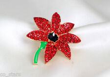 Gold Red Poppy Flower Brooch Crystal Diamante Pin Badge Remembrance Gift 21A