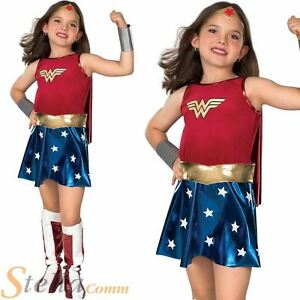 Girls Deluxe Wonder Woman 80s Superhero Kids Fancy Dress Costume Outfit Age 3-10