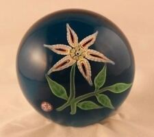 Figurine Paperweight Signed Baccarat France Crystal 1971 flower floral turq 3.25