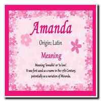 Amanda Personalised Name Meaning Coaster