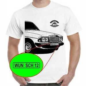 T-Shirt  W 123 Wunschtext auf Nummernschild möglich Oldtimer Geburtstag Geschenk