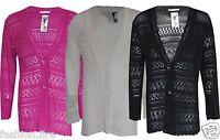 Women Ladies Knitted Plus Size Boyfriend Button Long Length Cardigan Size 16-26