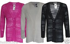 Women Ladies Knitted Plus Size Boyfriend Button Long Length Cardigan Size 16-26