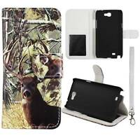 Flip Wallet Camo Tail Deer For Samsung Galaxy Note 2 II N7100 Pu Leather Cover