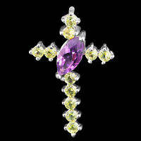 100% NATURAL 9X5MM AMETHYST PERIDOT CROSS DESIGN STERLING SILVER 925 PENDANT