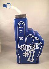 New Blue Sports We're #1 Foam Finger Drinking Bottle Straw Cap Team Party Water