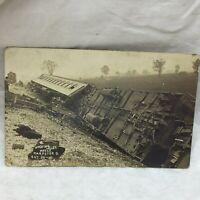 Vtg Real Photo Postcard Hocking Valley Wreck Scene Harpster Ohio Train Disaster