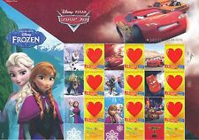 ISRAEL 2015 DISNEY THE MOVIE FROZEN WITH PIXAR CARS STAMP SHEET MNH