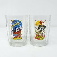 McDonald's Walt Disney World Mickey Mouse Set of 2 Glass Cups 2000 Studios Epcot