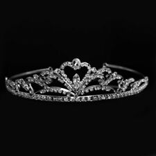 Wedding Bridal Tiara Crown Silver Swarovski Rhinestone Elements Heart Accent