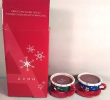 Avon Cappuccino Candle Gift Set Scented Ceramic Holiday Christmas Mugs Cups