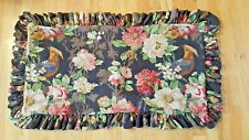 "Legacy Pillow Sham King 18 X 34"" Barkcloth Roses Flowers Black Pink Pre-Owned"