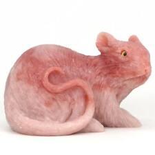 "Mouse Statue Pink Opal Stone Figurine Crystal Healing Reiki Home Decor 3.38"""