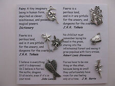 Fairy charms for scrapbooking, card and jewelry making - 7 charms with quotes