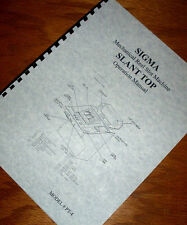 SIGMA PT-4 Mechanical SLANT TOP REEL SLOT MACHINE Operations Manual
