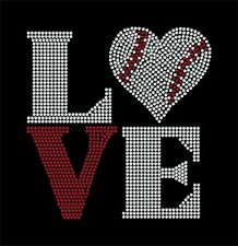 LOVE Square Baseball heart Rhinestone Transfer BLING, Iron on DIY