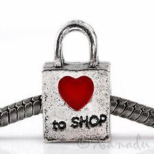 Love To Shop Handbag Purse European Bead With Red Heart For Charm Bracelets