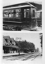 HUNTINGTON NY LIRR Station & Traction Car LONG ISLAND 2 PHOTOS c.1900 Free Ship!