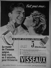 PUBLICITÉ 1954 VISSEAUX LE RASOIR ÉLECTRIQUE ULTRA RAPIDE CINQ TÊTES DE COUPE