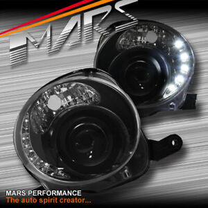 Black LED DRL Day-Time Dual Beam Projector Head Lights for Fiat 500 500C 08-13