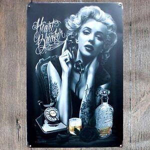 Metal Tin Sign HEART BREAKER MARILYN MONROE Bar Pub Vintage Retro Poster Cafe