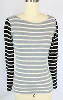 J CREW Size XXS Black Gray Colorblock Stripe Long Sleeve Mini Waffle Knit Top
