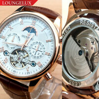 OUYAWEI Mens Flywheel Leather Luxury Skeleton Automatic Mechanical Wrist Watch