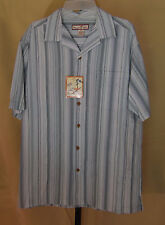 Paradise Blue Mens Green & Gray Button Front S/S Shirt Medium NWT 228