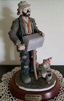 Vintage Emmett Kelly Jr. Hurdy Gurdy Porcelain Clown Figurine With Monkey