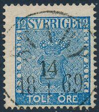 Sweden Scott 8/Facit 9, 12ö blue Vapentyp, F Used STABY cancel, LYX