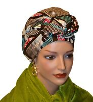 African Head Wrap Scarf Gele. Stylish Headwear Made Of Ankara Blue Brown Fabric