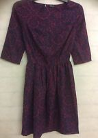 Ladies Womens Claret Floral Print Skater Dress 3/4 Sleeve Size 6 8