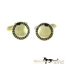 Bvlgari Bulgari Vintage Sterling Silver Mirror Cufflinks with Black Enamel