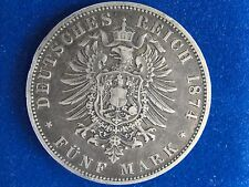 1874 A GERMANY PRUSSIA 5 MARK NICE GRADE ORIGINAL COIN