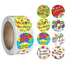 1 Roll 8 Styles Happy Birthday Round Stickers Party Gift Packaging Seal Labels