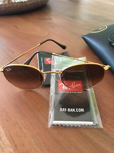 Ray Ban Round Metal Retro Sonnenbrille - Gold RB 3447 braune Gläser NEU