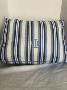 Ralph Lauren Blue And White Striped RLL Monogram  Very Large Throw /Decor Pillow