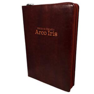 Biblia de Estudio Arco Iris con Cierre Pastoral Reina Valera 1960 caoba e indice