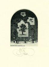 Exlibris by K. Kalinovich  TREE Original Signed E.A.