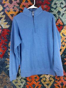 Peter Millar mens blue gray black Crown Comfort Interlock 1/2 zip golf M EUC