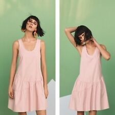 Anthropologie NWT Sz Small Holding Horses Blushed Poplin Swing Dress in Pink New